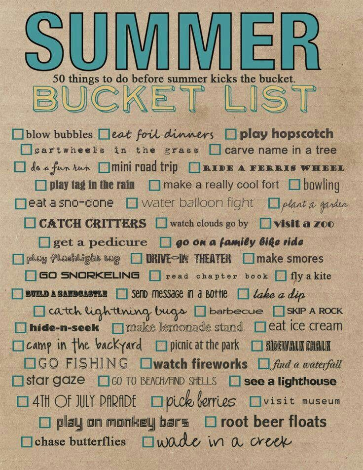 Summer Bucket Lists! Need to do some of these with my friends!!!