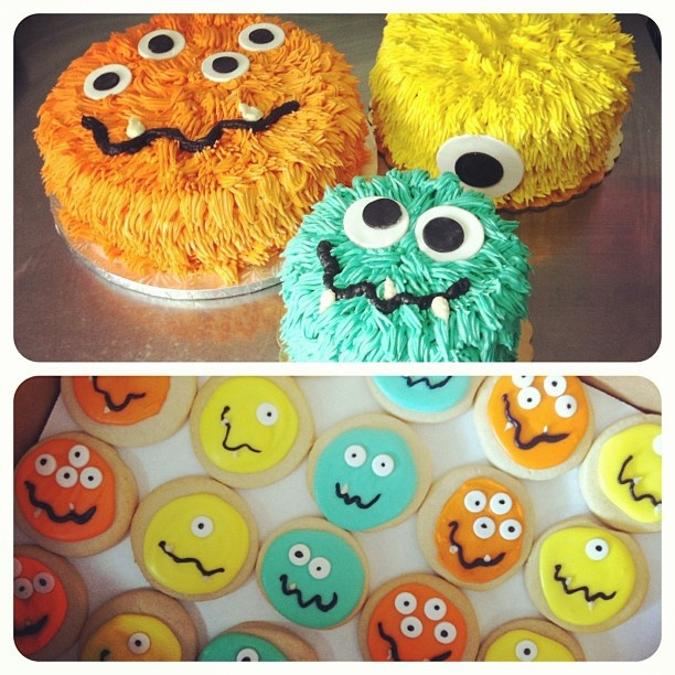 "cakes & sugar cookies for a ""little monster"" baby shower   #capitalcitybakery"