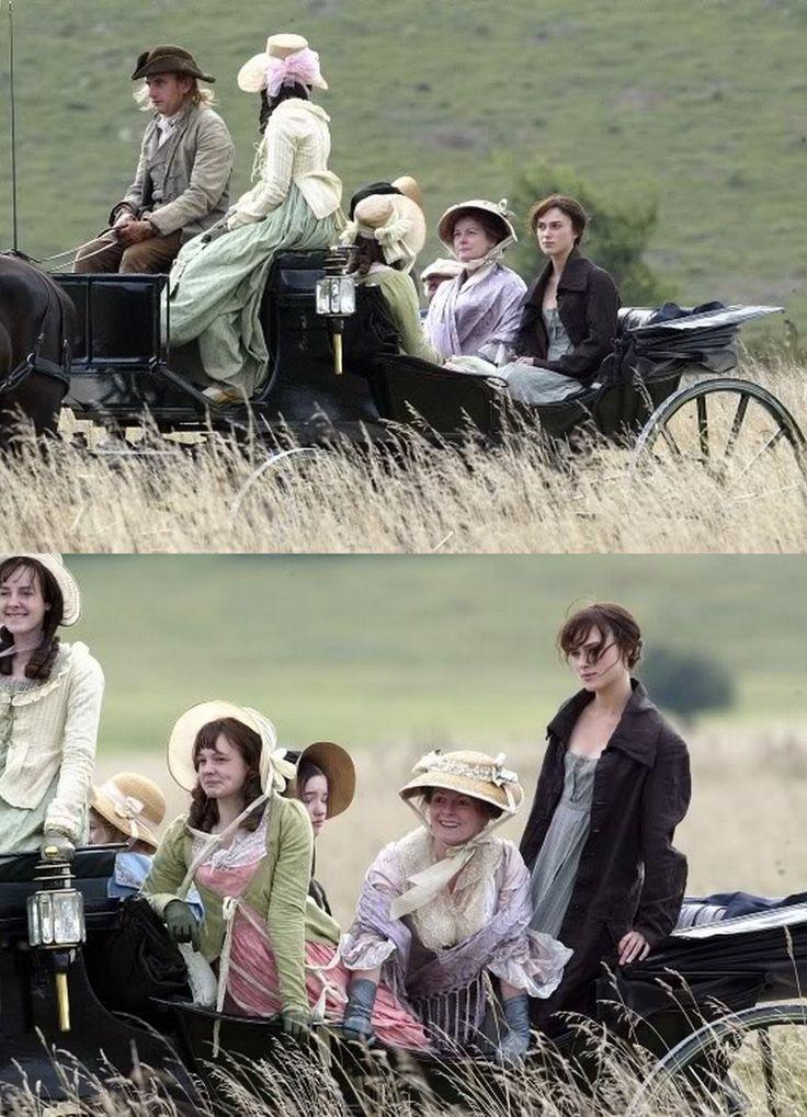 Rosamund Pike (Jane Bennet), Keira Knightley (Elizabeth Bennet), Brenda Blethyn (Mrs. Bennet), Talulah Riley (Mary Bennet), Carey Mulligan (Kitty Bennet) & Jena Malone (Lydia Bennet) - Pride & Prejudice (2005) directed by Joe Wright #janeausten
