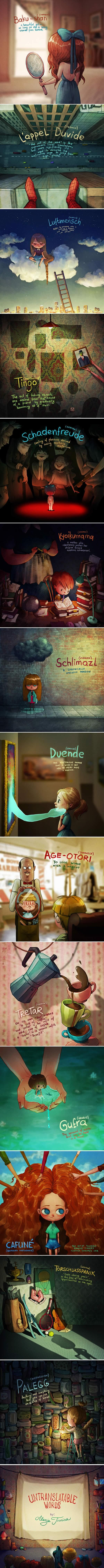 14 Untranslatable Words Explained By Charming Illustrations (By Marija Tiurina)