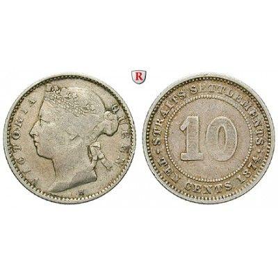 Straits Settlements, Victoria, 10 Cents 1874, ss: Victoria 1837-1901. 10 Cents 1874 H. KM 11; sehr schön 25,00€ #coins