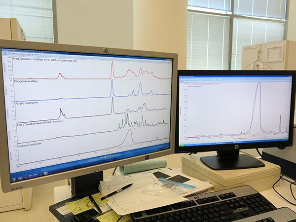 Our series spotlighting tools used by Getty Conservation Institute staff continues with FTIR, which can identify materials in artwork from the tiniest sample - See more at: http://blogs.getty.edu/iris/conservation-tools-fourier-transform-infrared-spectroscopy-ftir/#sthash.5GcZxbnW.dpuf