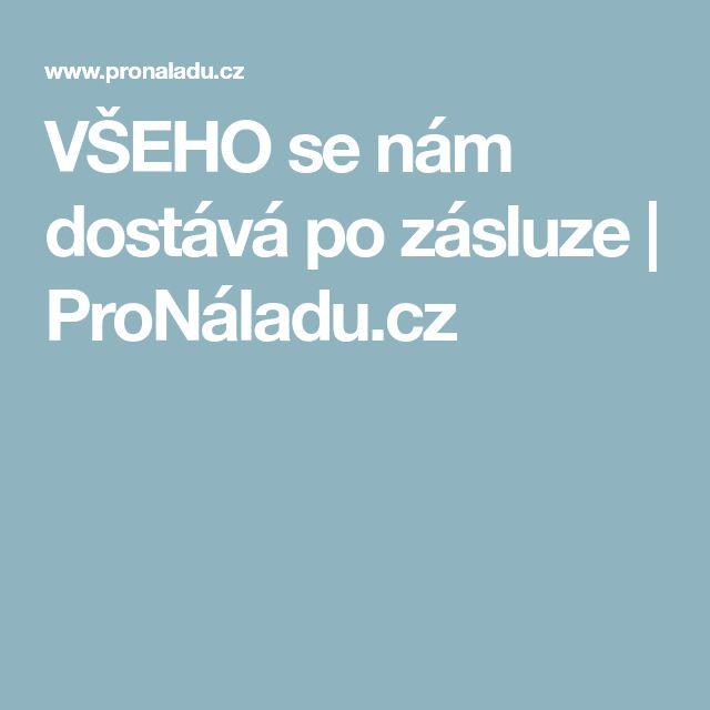 VŠEHO se nám dostává po zásluze   ProNáladu.cz
