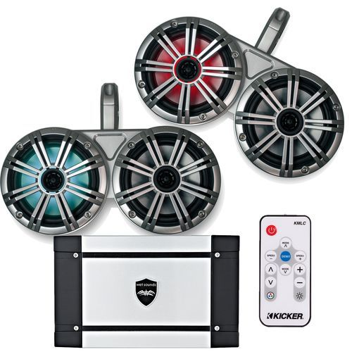 """Kicker White Dual Wake Tower System w/ 4 Silver 6.5"""" LED Speakers, LED Remote and Wet Sounds HT-4 400 Watt Marine Amp"""