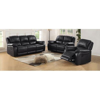 Latitude Run Juan Leather Sofa and Loveseat Set Upholstery: Black
