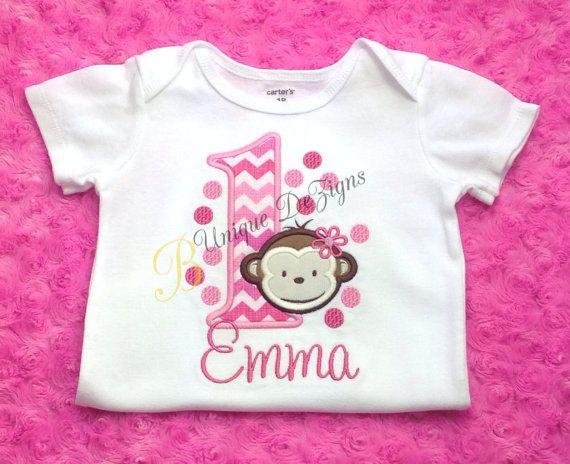 Girls Monkey Shirt Mod Monkey Birthday Shirt Chevron Shirt