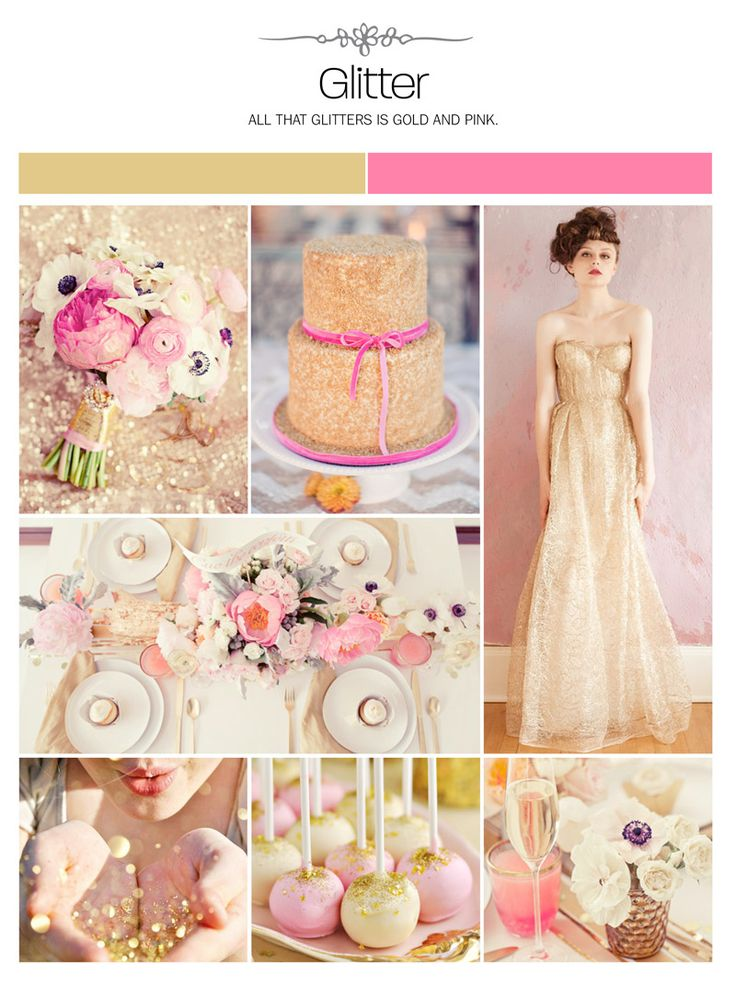 Glitter, gold, pink wedding inspiration board, color palette, mood board