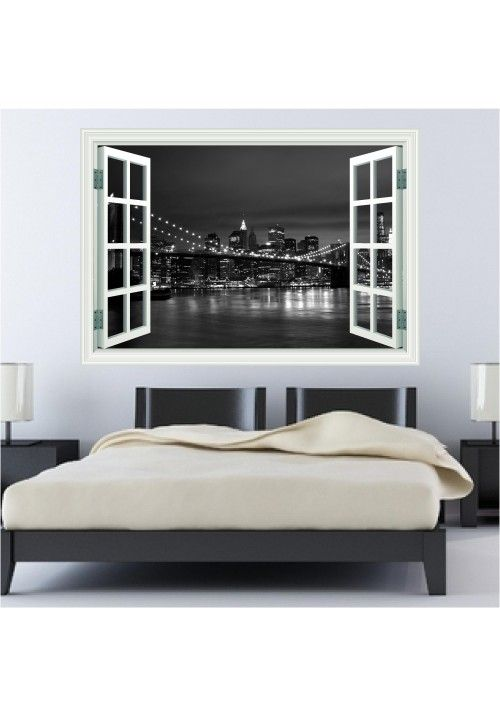 New York Black And White Landscape Window Wall Art Sticker Decal
