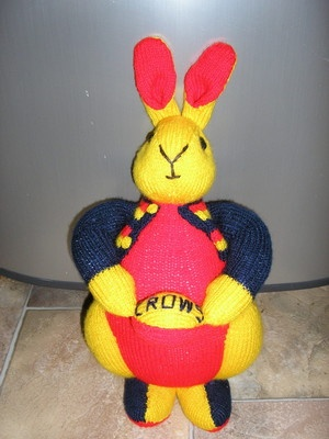 NEW Adelaide Crows Hand Knitted Bunny Toy