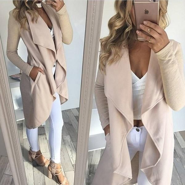 Women Fashion Autumn Long Sleeved Irregular Hem Solid color Casual Cardigan Windbreak Coat