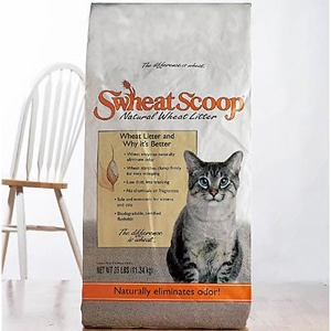 Swheat Scoop Cat Litter:  Naturally eliminates odors.  Clumps firmly for easy scooping.  Clay and chemical free.  Sewer and septic safe.  Low dust, less tracking.  100% biodegradable, 100% compostable.  Good for multi-cat homes.  Made in the USA.