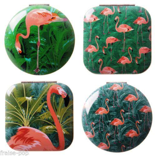 MIROIR-de-POCHE-motif-FLAMANT-ROSE-Tropical-en-Metal-PINK-FLAMINGO-MIRROR-Kawaii