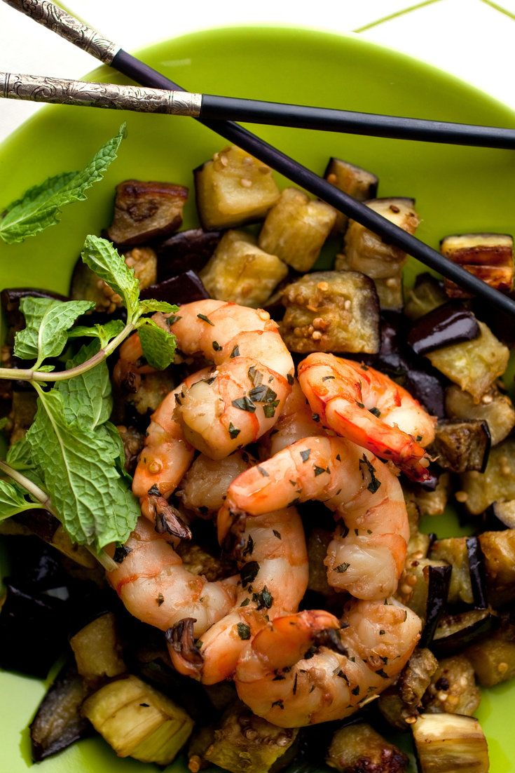 The nuoc mam brings out the saline character of the shrimp and seems to heighten the sweetness of the eggplant, while the garlic adds its sharp bite, and the mint a cool freshness.