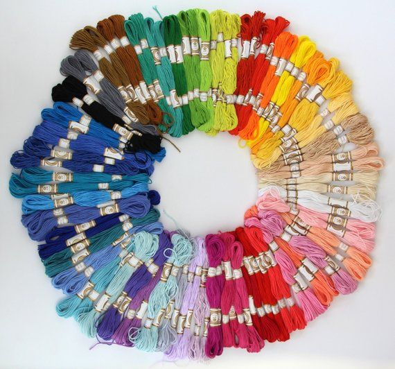 100 Mixed Colours Cross Stitch Cotton Embroidery Thread Sewing Skeins Floss Set