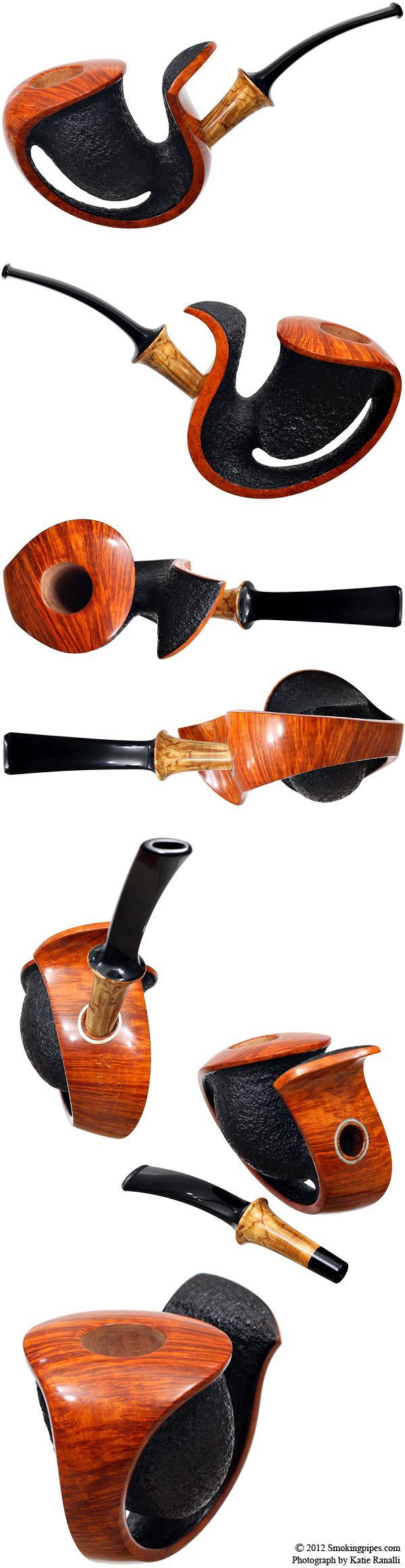 "I have never considered any pipe ""gorgeous"" until now! Partially Rusticated Elephant's Trunk with Mazur (Butterfly)"