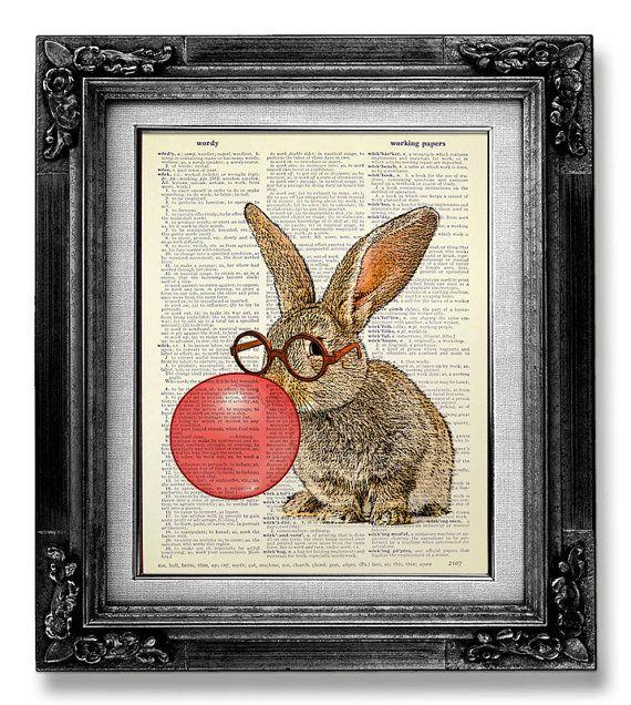Bunny RABBIT Art Print, Rabbit Decor BOOK ART, Bunny Print Rabbit Illustration Bunny Painting Artwork, Nerd Rabbit Nursery Art Red Bubblegum