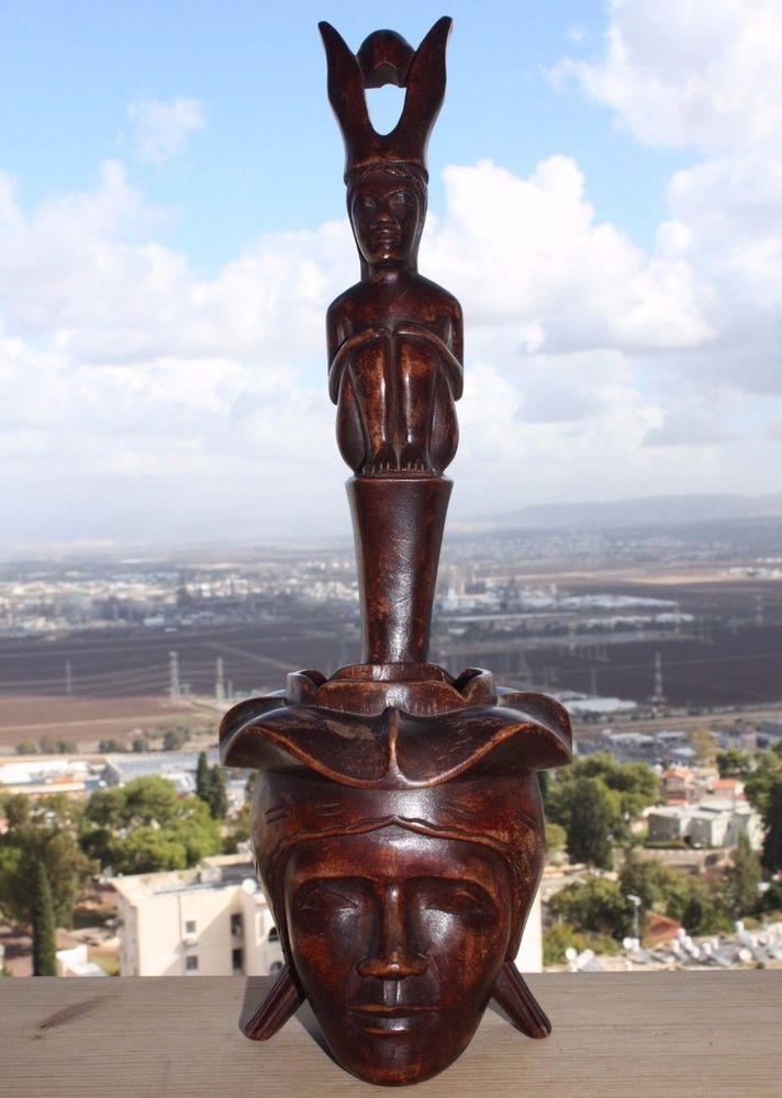 Hand Carved Wood Head Hunter Totem Pole Statue Figurine Art Dipper Ladle shaped