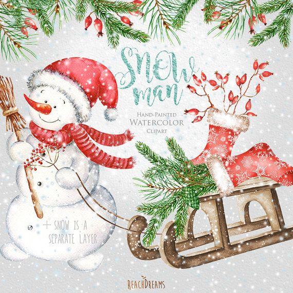 Die besten 25 schneemann clipart ideen auf pinterest - Aquarell weihnachten ...