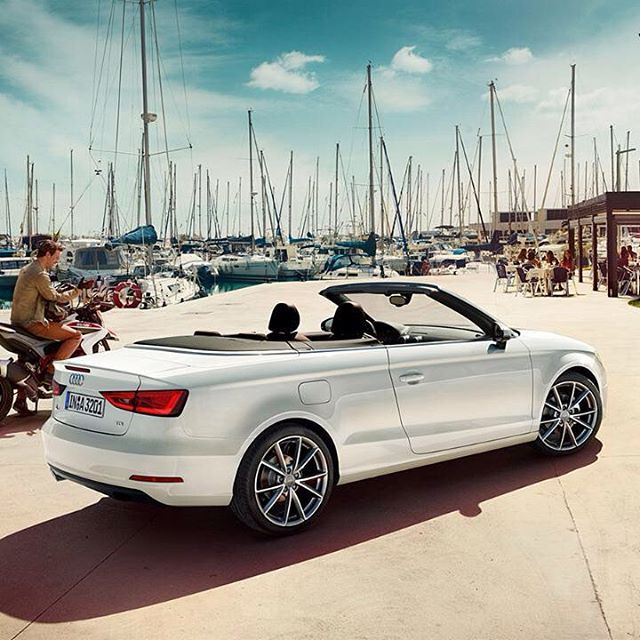 The #AudiA3 Cabriolet helps you to get that base tan before you hit the water, and features available Google Earth navigation to help you find said water. #Multitasking