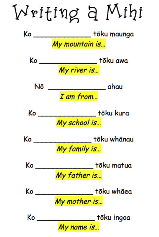 Everything flows from the mountain, through the river. Then the people settle, so this is the order in which we say our mini. Below is the template we have used to write our mihi's.