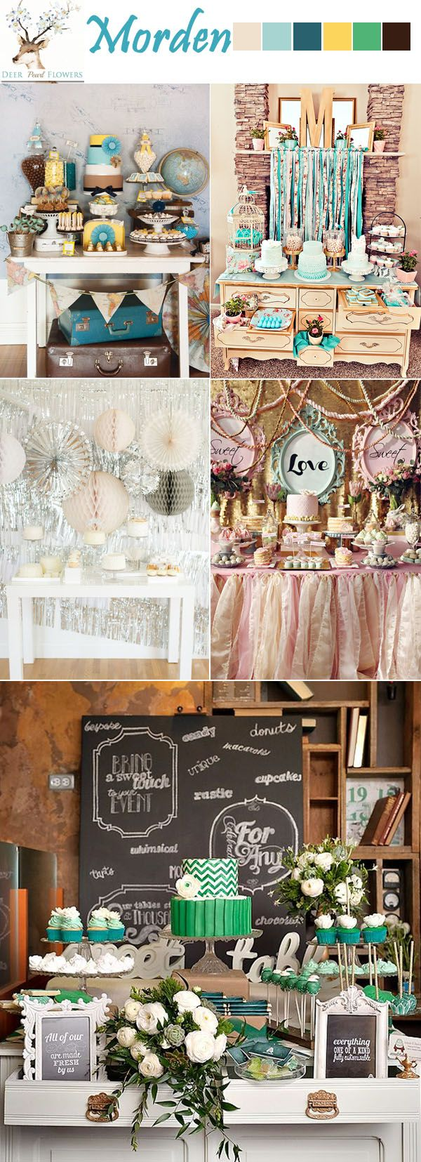 adorable pastel lime pink blush peach baby blue red wedding dessert table ideas / http://www.deerpearlflowers.com/38-adorable-wedding-dessert-table-ideas/morder-blue-green-yellow-rose-wedding-dessert-table-ideas/