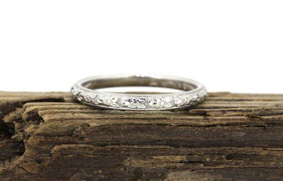 Platinum Orange Blossom Wedding Band Antique Platinum Wedding Ring Vintage Estate Ring Floral Forget Me Not Ring Size 5 3/4 by FergusonsFineJewelry