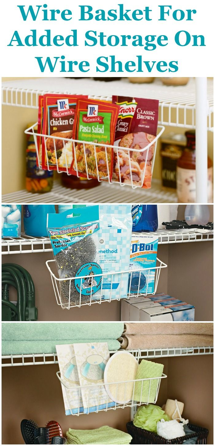 Do you have wire shelves in your house, such as in your pantry, laundry room or bathroom? If so, and you've got small items to hold as well, these wire baskets which attach to your wire shelves are a quite helpful storage solution.