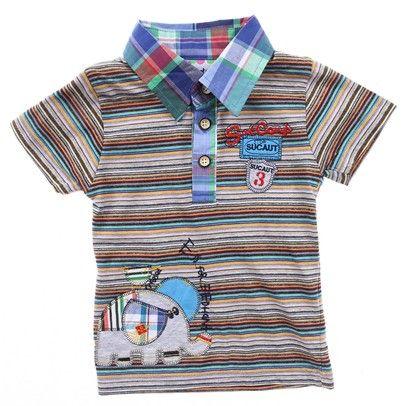 Green/Browns Stripe Boys Shirt With Elephant On Front-AJ65076-green $15.00 on Ozsale.com.au