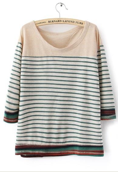 Green Round Neck Half Sleeve Striped Cotton T-Shirt