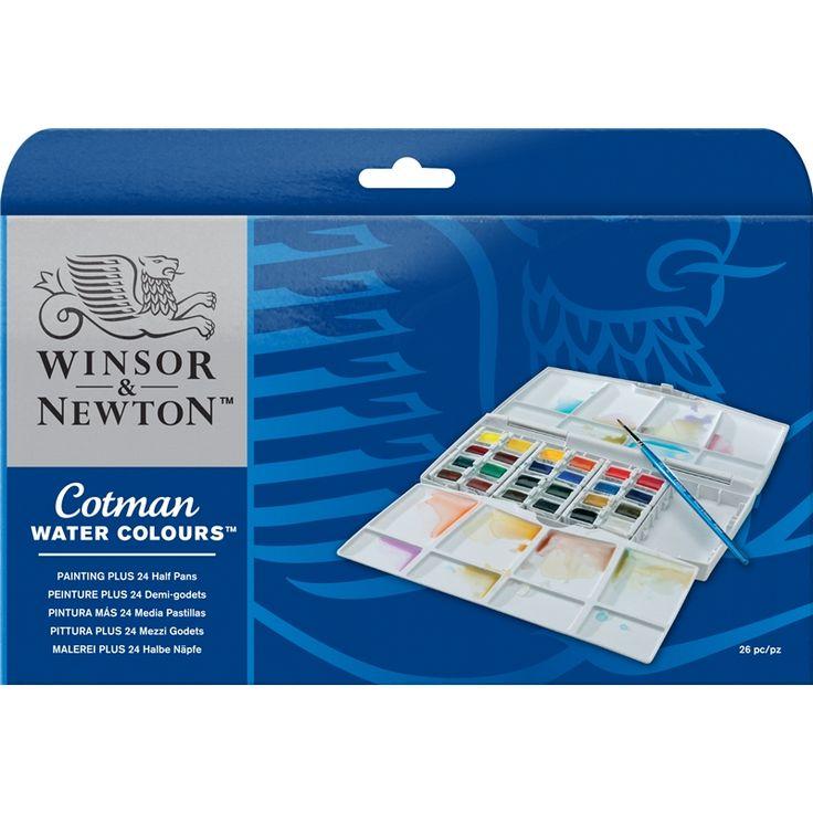 Winsor & Newton. Cotman Aquarelverf.  Set met 24 'halve' nap. assorti kleuren. Uitvoering in kunststof opbergdoos. Wordt geleverd in kartonnen doos.