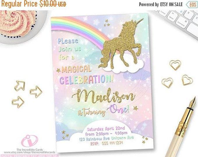 50% de descuento venta invitación de unicornio arco iris invitación, invitación cumpleaños mágico, unicornio cumpleaños invitación, invitación de cumpleaños del arco iris,