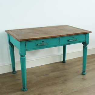 Painted oak table desk : vintage upcycled furniture : Ruby Rhino