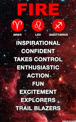 Fire Element for Aries - Leo - Sagittarius. Key words: inspirational, confident, takes controle, enthusiastic, action, fun, exitement, explorers, trail blazers.