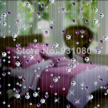 Atacado frete grátis / violet cristal do grânulo cortina