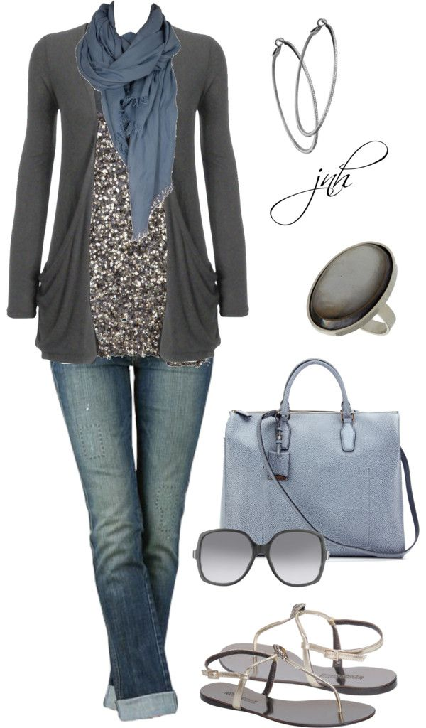"""Charcoal/Blue"" by jill-hammel on Polyvore"