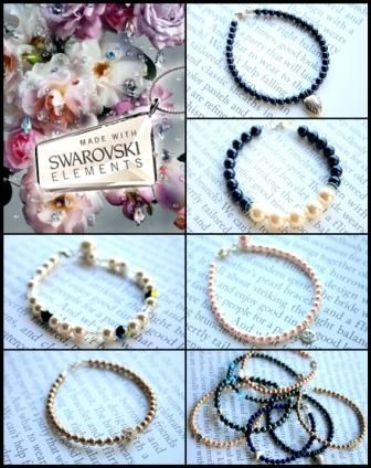 Swarovski Elements bracelets - pearls and crystals www.zelodesign.ro