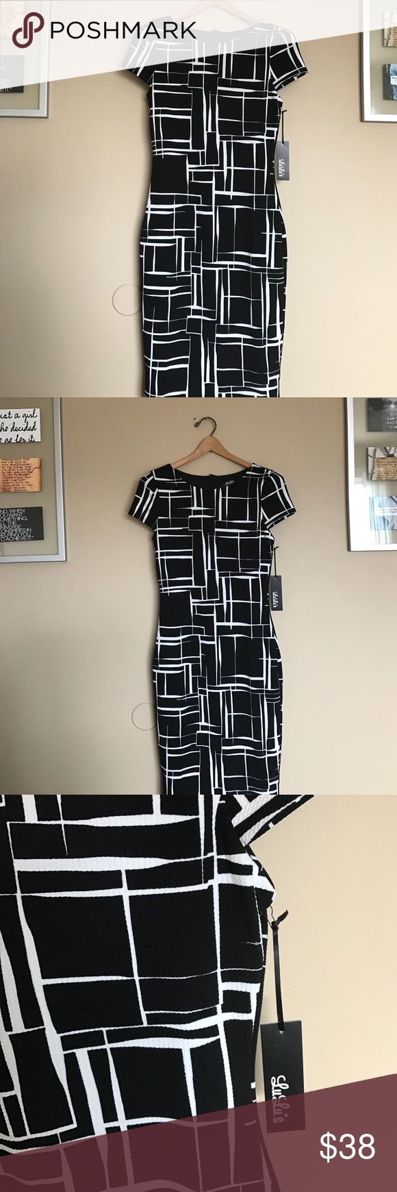 LuLu curated black and white bodycon print dress LuLu curated black and white bodycon print dress. Brand-new with tags. NWT. LULU coveted, curated, beautiful. This dress is perfect for Easter, church,bridal shower or wedding guest. Curve conscious. Sexy yet classy. I love reasonable offers, please feel free to ask any questions. 38 L X 15 armpit to armpit. Lulu Dresses