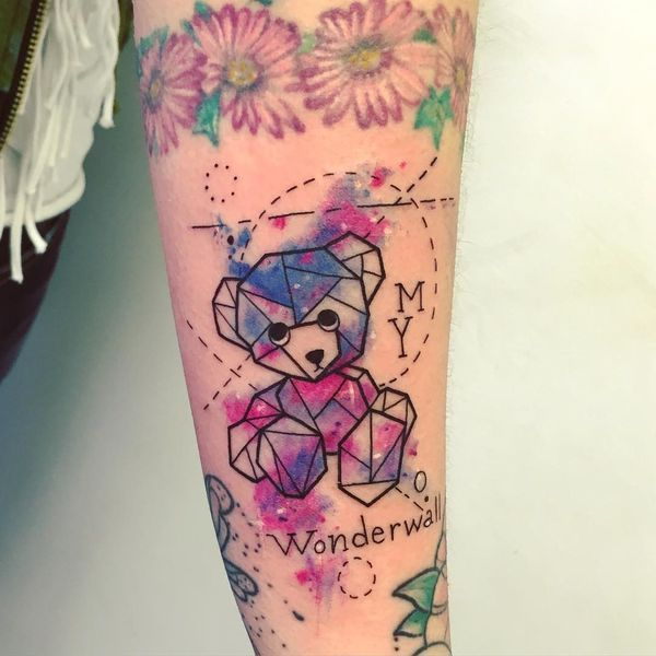 45 Extraordinary Teddy Bear Tattoos - The lovely teddy bear tattoo performed in the traditional brown color adorns the thigh. If you are a huge fan of teddy bears, you can immortalize you love to this soft toy in this �