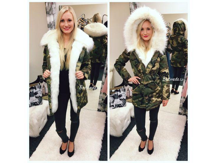 Army PARKA s bílým kožíškem, SKLADEM - Bestmoda - Camouflage parka with white fur in stock