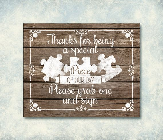 Puzzle Piece Guestbook Wooden Wedding Sign by SasafrasPrintables