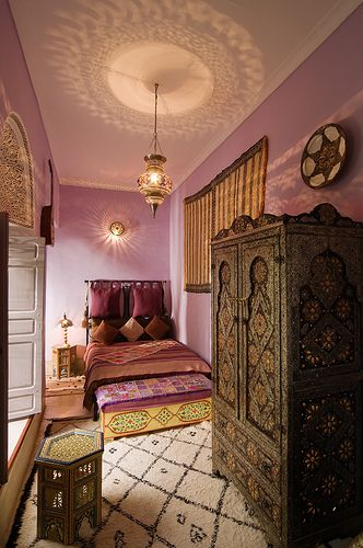 Pink bedroom in a Riad in Marrakech, Morocco