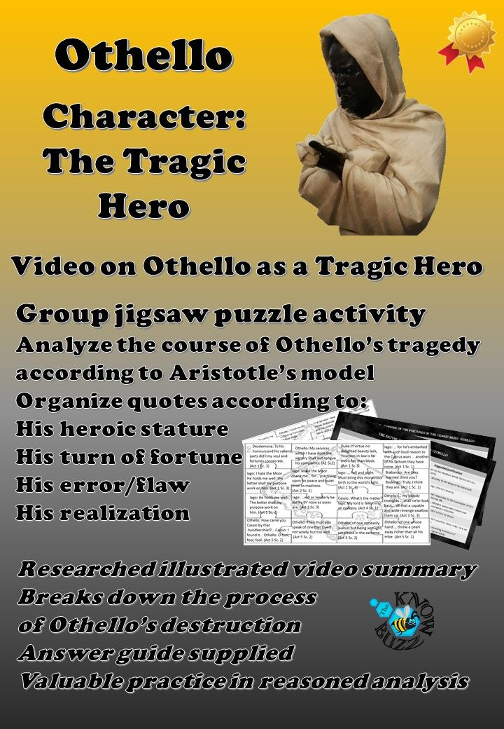othello the tragic hero aristotle Definition, usage and a list of tragic hero examples in literature tragic hero is a courageous protagonist that eventually faces his own downfall.
