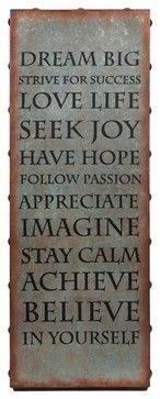 Galvanized Metal Inspirational Words Wall Art transitional-prints-and-posters