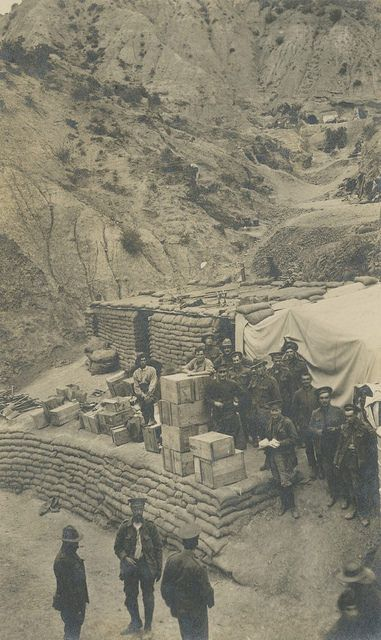Sandbagged storage depot at Gallipoli, Turkey