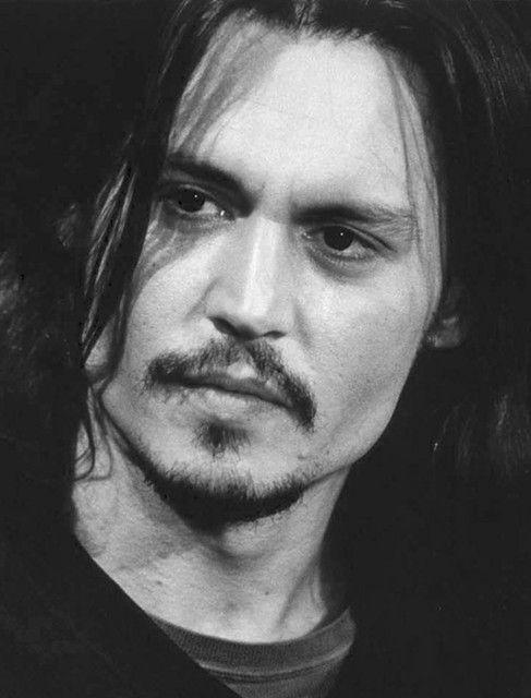 Johnny Depp, male actor, sexy guy, beard, intense eyes, eye candy, celeb, famous, long hair style, portrait, photo b/w.