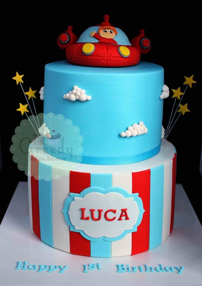Turquoise, Red & White Stripes, Clouds and Stars Little Einsteins Cake (Luca)