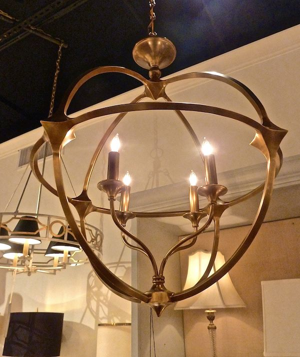 Brass Ballario orb chandelier by Curry and Company. High Point Market Spring 2014 Finds We Love at Design Connection, Inc.   Kansas City Interior Design #HPMkt #HPMkt2014 #InteriorDesign http://www.DesignConnectionInc.com/Blog