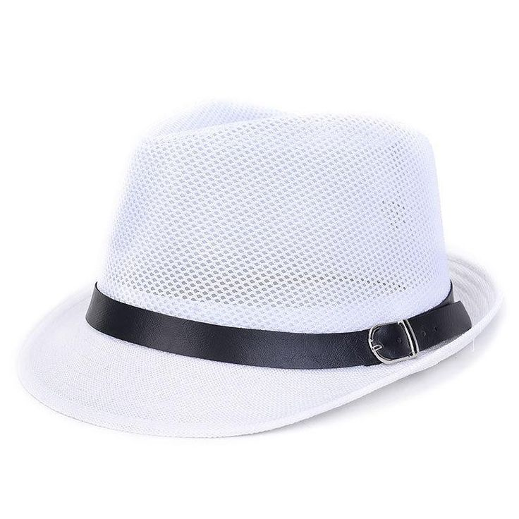 1pc Unisex Women Men Casual Trendy Beach Sun Straw Panama Jazz Hat Cowboy Straw Hat Wide Brimmed Fedora Cap With Belt 7 Colors