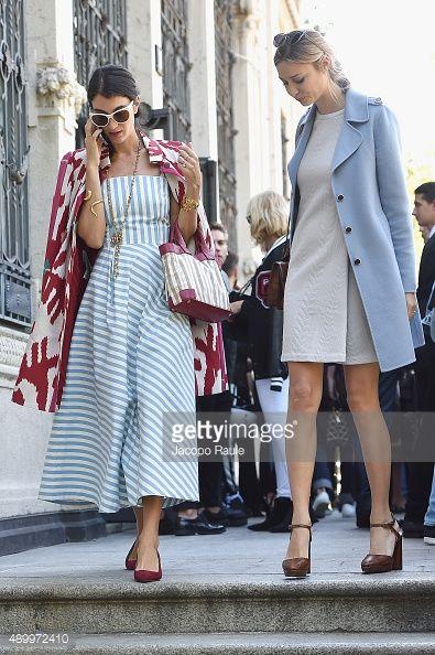 Beatrice Borromeo and Marta Ferri arrive at the Giamba show during the Milan Fashion Week Spring/Summer 2016 on September 25, 2015 in Milan, Italy.