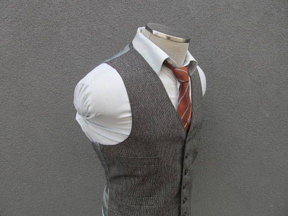 1940s Gray Tweed Vest / Vintage Wool Tweed Waistcoat 42 Large